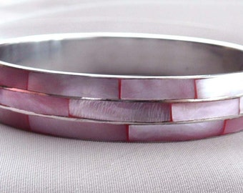 Mother of Pearl Bangle Bracelet Pink Layered Enamel Vintage