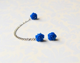 Midnight Blue Rosettes Cartilage Earring (Pair)