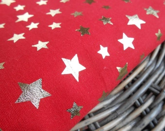 Fabric Cotton Red with Gold Stars 1yd