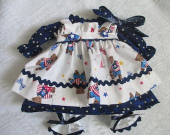 Handmade 4 pc Americana Raggedy Ann dress for a 18-20'' doll made by Jodi Lynn