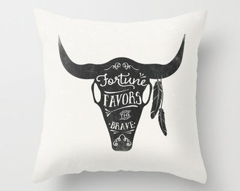 Throw Pillow — Fortune Favors the Brave