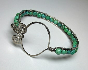 Turquoise Bangle Bracelet in Silver