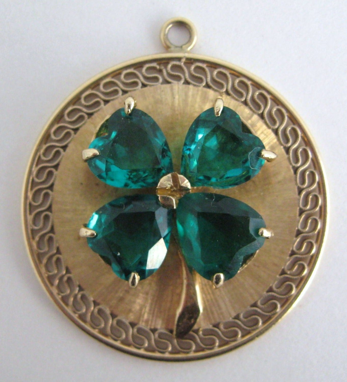 Charm Bracelets Gold: 14k Gold Pendant Bracelet Charm Four 4 Leaf Clover Emerald