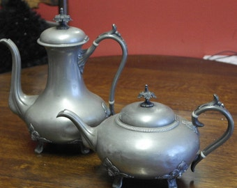 antique silver plate large tea pot and coffee pot