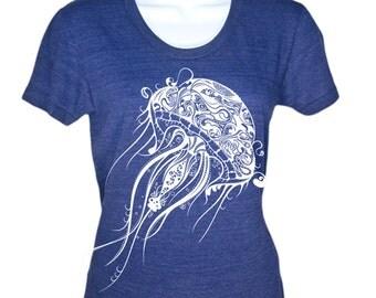 Womens Jellyfish Illustration T-Shirt - Nautical Shirt Beach Tee Summer Top - Gifts For Her Ladies Jellyfish T Shirt