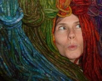 ONE TRIBAL DoUbLe EnDeD Dreadlock Choose Your Colour DE Felted Wool Dread Festival Pixie Fairy Hair Extension Elf Pixie Hippy Hippie Fae Psy