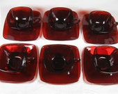 Vintage Lot of 6 Sets Coffee or Tea Cup & Saucer Ruby Red Glass SQUARE Anchor Hocking Fire King Charm