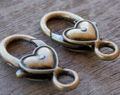 6 Bronze Heart Clasps 27mm Heart Shaped Lobster Clasp