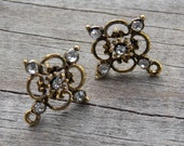 3 pairs Antiqued Gold Earrings with Crystals Connector Loop and Matching Backs 21mm x15mm