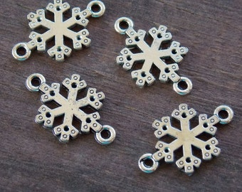 20 Antiqued Silver Snowflake Connector Charms 19mm