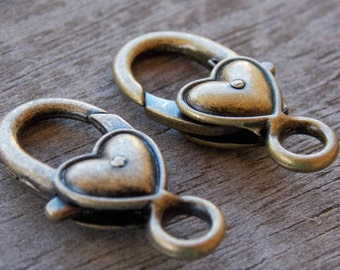 3 Bronze Heart Shaped Lobster Clasps  27mm