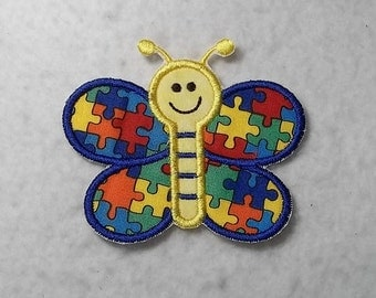 Butterfly Autism Awareness Puzzle Piece (small) Tutu & Shirt Supplies - fabric iron on Applique Patch 7252
