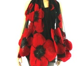 Nuno felted shawl - large flowers scarf - wool and silk - red and black felt shawl