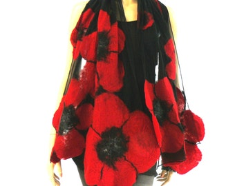 Nuno felted shawl - large flowers scarf - wool and silk - red and black felt shawl