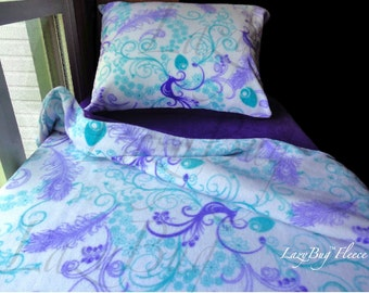 Peacock Bedding Girls Toddler Fleece Bedding Set Handmade Fits Crib and Toddler Beds DONE!!