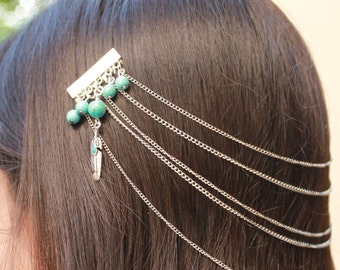 Metal Hair Clip Combs Link Chain Handmade Hair Jewelry Turquoise Feathers