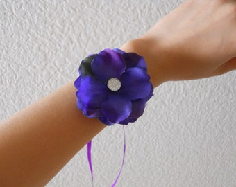 Purple Petals Wrist Corsages with Rhinestone Accent