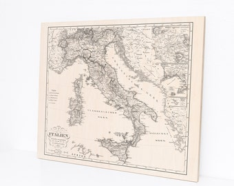 Wood Print Map of Italy in 1852