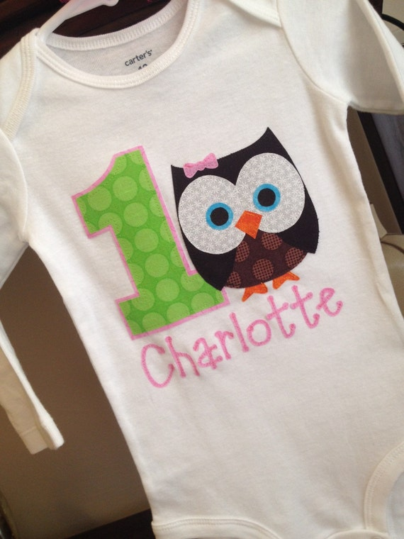 FAST SHIPPER! New Baby Girl's First Birthday One Piece, bodysuit Shirt, Owl, 1st Birthday
