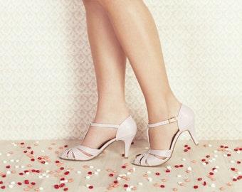 Vegan, non leather, hand made, chic, high heel, soft pink women's bridal peep toe sandals