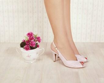 Vegan, non leather, hand made, chic, high heel, light pink women's bridal peep toe sandals