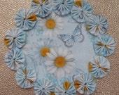 Blue Spring Daisy and Butterfly Doily