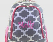 Personalized Geometric Quatrefoil Backpack Girls Booksack Gray & White with Hot Pink Trim Full Size School Backpack Monogrammed Free