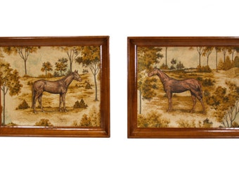Pair of 3 Dimentional Horse Pictures in Fabric - Vintage