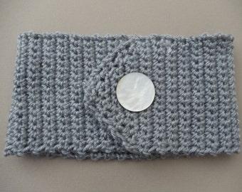 Grey Headband Earwarmer Crocheted Headband Gray Neutral (HB101 Grey Heather)