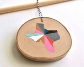 CUSTOM State or Country Silhouette Ornament     Hand Painted Custom Ornament     Geometric State Ornament     Brights