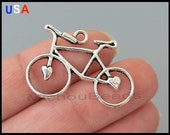 BULK 25 BICYCLE Connector Charms - Antiqued Silver Tibetan Style Bike w/ Heart Charm Link - Instant shipping - USA Wholesale Charms - 5996