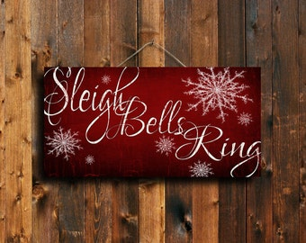 Sleigh Bells Ring Christmas Sign - Red Christmas Sign - Red Christmas Art - Red Christmas Canvas