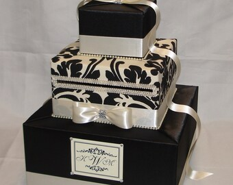 Back and Ivory Damask Wedding Card Box-Rhinestone Accents (any color)