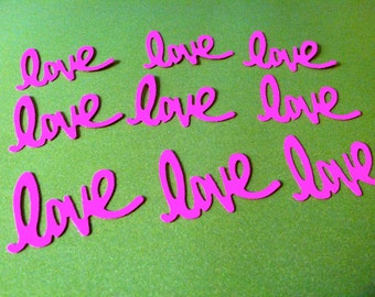 24 NEON PINK LOVE word Hand Punched Die Cuts, paper punches Valentines cards, banners, party invitations, embellishments