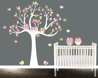 Girls Nursery Owl Wall Decal stickers Nursery Tree Birds Owls children Nursery Tree
