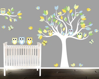 Custom Nursery Decal, Yellow Green Owl wall decals, Wall Tree decal