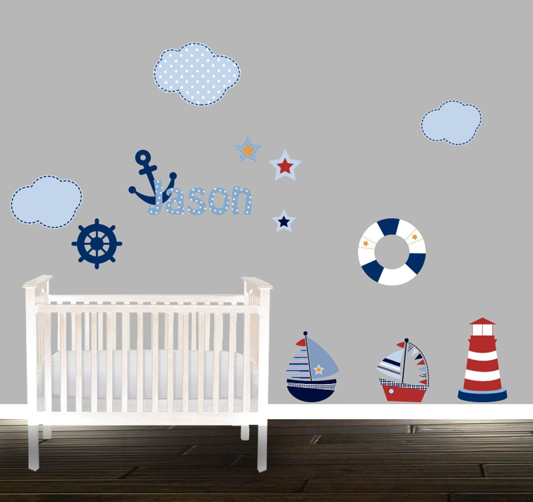 nautische wall decal set boot wandtattoo wolken kinderzimmer. Black Bedroom Furniture Sets. Home Design Ideas
