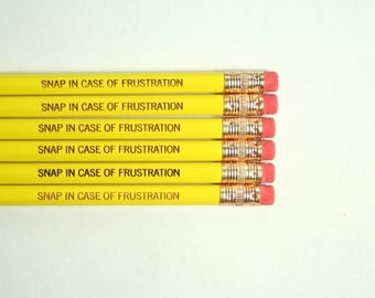 Snap in case of frustration Pencil set of in yellow. Lucky exam pencil.
