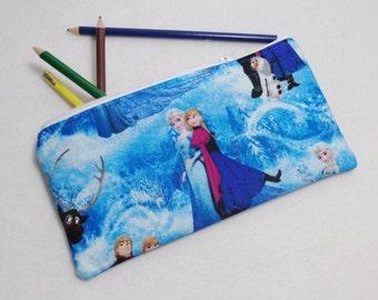 Frozen print Pencil Case/ Crayon Case/Makeup Bag/ Cosmetic Case/ Ready to Ship
