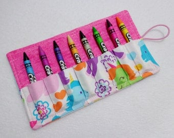 Unicorn print Crayon Roll Up. Ready to Ship