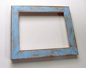 Distressed blue frame - 8x10 hand-painted, lightly distressed picture frame, baby blue over brown, texture, layered, unique frame