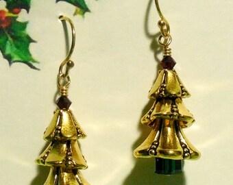 Festive Gold Holiday Tree Earrings