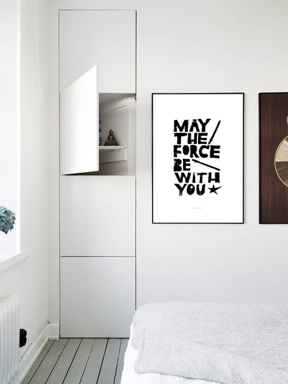 Movie poster Star Wars, May the Force be with You, kids wall art, children decor, inspirational fun geek quote - Lino art letterpress