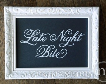 Late Night Bite Table Card Sign - Wedding Reception Seating Signage - Matching Numbers Avail - Chalkboard Style Snack Bar Sign SS05