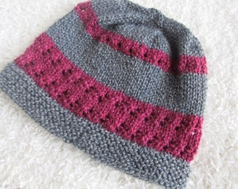 Lovely Soft Wool Hat, Slate and Berry, Handknit. One of a Kind, Ready to Ship.