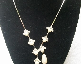 Vintage Signed FAC Butler Swarovski Faux Pearls Necklace NWT Excellent