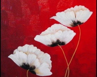 Poppies on Red, an original oil painting by Jo Edwards