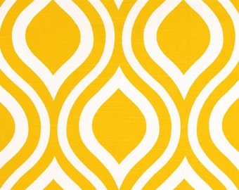 1 Yard Yellow Emily - Premier Prints Fabric-  Corn Yellow and White - Fabric by the Yard Ornament, Teardrop