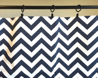 Navy Blue Chevron Curtain Panels. All Sizes. Zig Zag Drapes. Window Treatments. Blue Drapery.