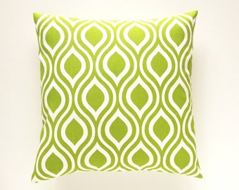 CLEARANCE 50% OFF Green Nicole Decorative Pillow Cover. 18X18 Inches. Chartreuse Throw Pillow. Cushion Cover.